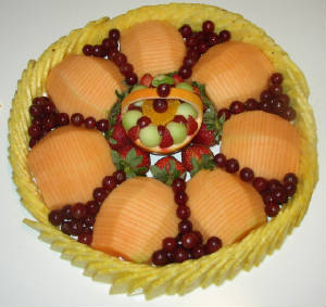 Sliced fruit display