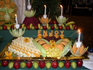 Cheese and fruit displayed
